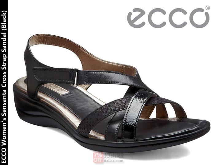 断码,ECCO Sensanta 爱步 女式真皮坡跟凉鞋 $54.98,合箱转运到手约¥411